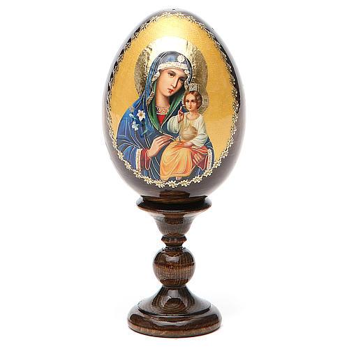 Jajko rosyjskie drewno decoupage Madonna Biała Lilia wys. całk. 13 cm 1