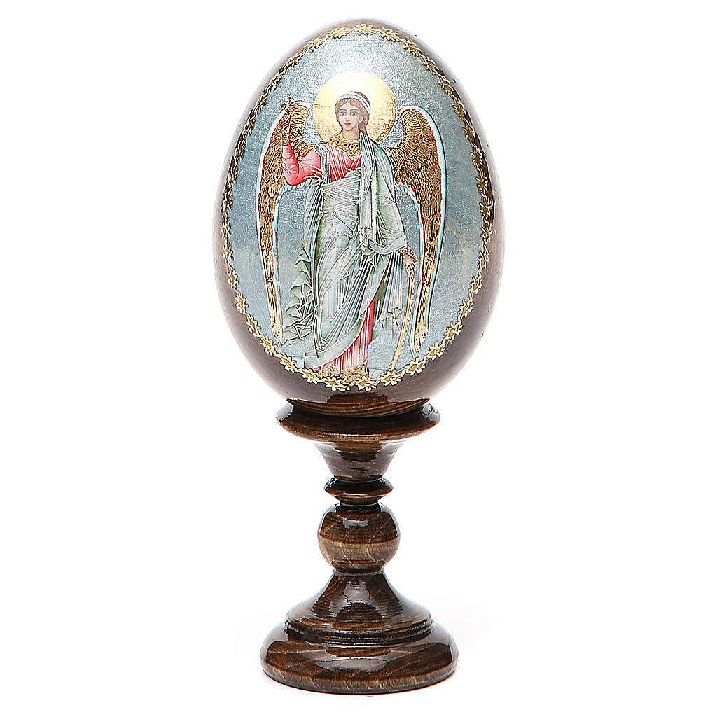 Huevo ruso de madera Ángel de la Guarda altura total 13 cm 4