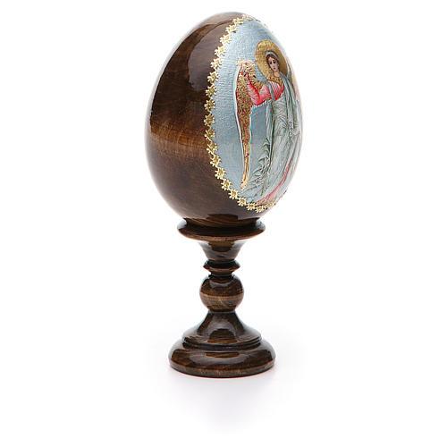 Huevo ruso de madera Ángel de la Guarda altura total 13 cm 6