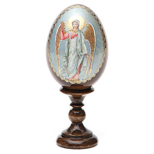 Huevo ruso de madera Ángel de la Guarda altura total 13 cm 8