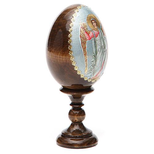 Huevo ruso de madera Ángel de la Guarda altura total 13 cm 11