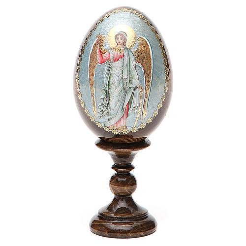 Huevo ruso de madera Ángel de la Guarda altura total 13 cm 1