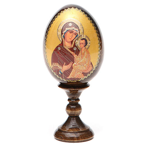 Uovo découpage russo Vergine Tikhvinskaya h tot. 13 cm 1