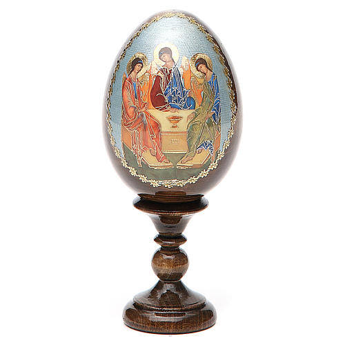 Oeuf Russie peint Trinité Roublev h tot. 13 cm 1