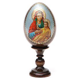 Russian Egg Mother of God Kozelshanskaya découpage 13cm s1