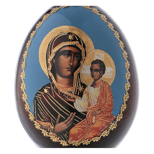 Russian Egg Mother of God Iverskaya découpage 13cm 2