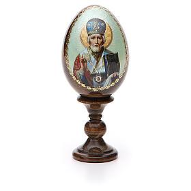 Uovo Russia San Nicola legno découpage h tot. 13 cm s5