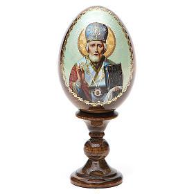 Uovo Russia San Nicola legno découpage h tot. 13 cm s9