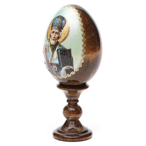 Uovo Russia San Nicola legno découpage h tot. 13 cm 2