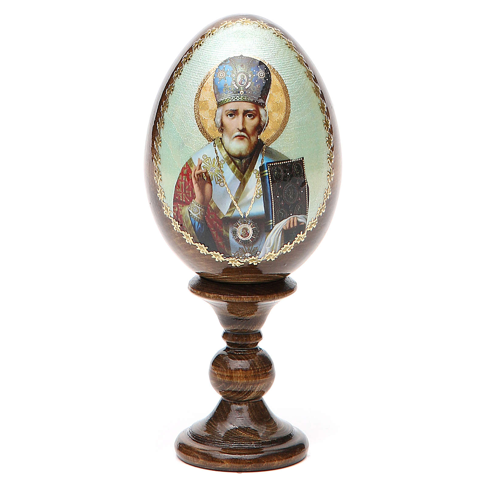 Russian Egg of St. Nicholas découpage 5.12'' 4