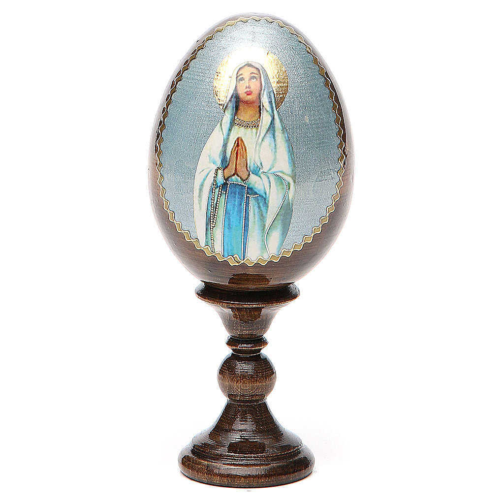 Russian Egg Our Lady of Lourdes découpage 13cm 4