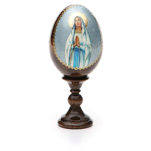 Russian Egg Our Lady of Lourdes découpage 13cm 5
