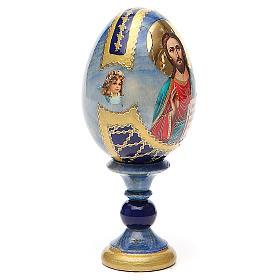 Uovo icona découpage Pantocratore h tot. 13 cm stile Fabergè s4