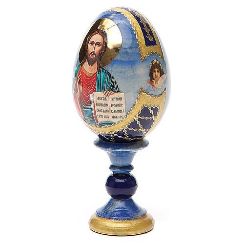 Uovo icona découpage Pantocratore h tot. 13 cm stile Fabergè 2