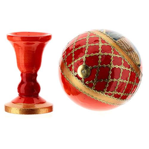 Russian Egg Pantocrator découpage red background, Fabergè style 13cm 5
