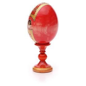 Uovo icona découpage Pantocratore sfondo rosso h tot. 13 cm stile Fabergè s7