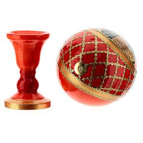 Uovo icona découpage Pantocratore sfondo rosso h tot. 13 cm stile Fabergè s5
