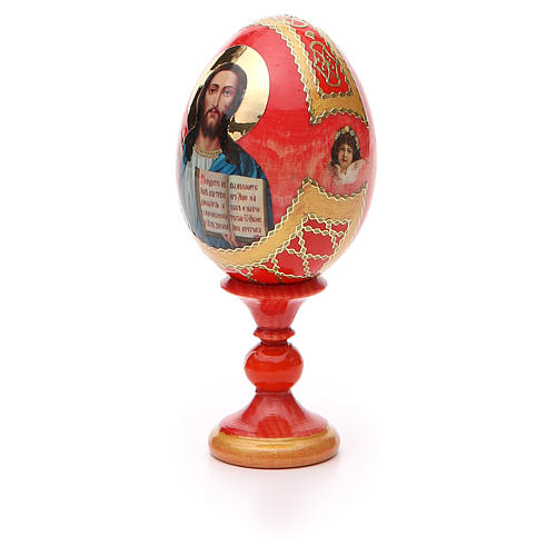 Uovo icona découpage Pantocratore sfondo rosso h tot. 13 cm stile Fabergè 6