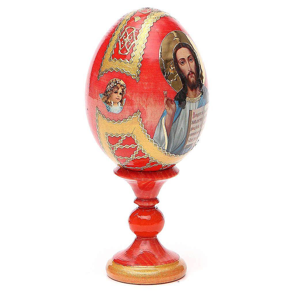Russian Egg Pantocrator découpage red background, Fabergè style 13cm 4