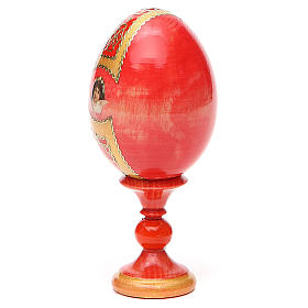 Russian Egg Pantocrator découpage red background, Fabergè style 13cm s11
