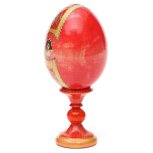 Russian Egg Pantocrator découpage red background, Fabergè style 13cm 3