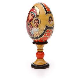 Huevo ruso de madera découpage Virgen de Kazanskaya estilo Fabergé altura total 13 cm s6
