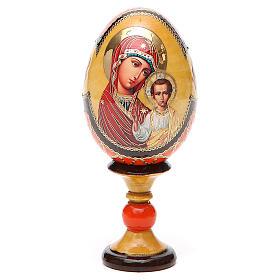 Huevo ruso de madera découpage Virgen de Kazanskaya estilo Fabergé altura total 13 cm s9