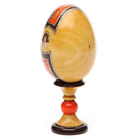 Huevo ruso de madera découpage Virgen de Kazanskaya estilo Fabergé altura total 13 cm s11
