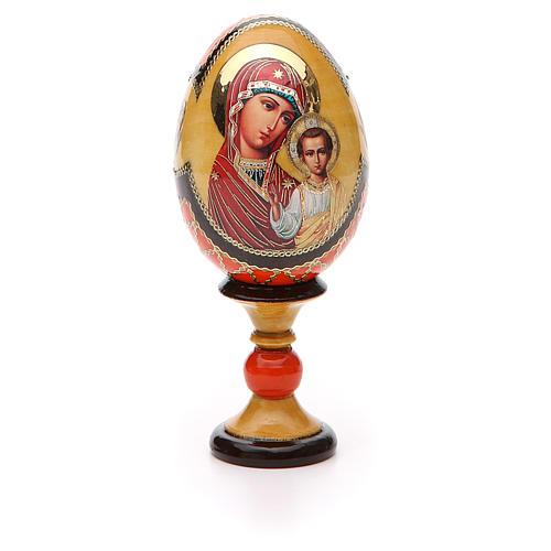 Huevo ruso de madera découpage Virgen de Kazanskaya estilo Fabergé altura total 13 cm 5