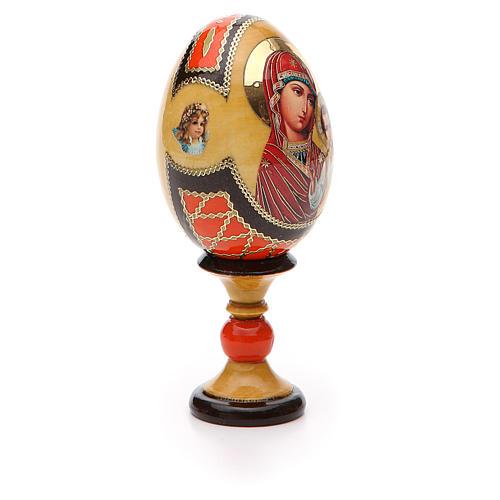 Huevo ruso de madera découpage Virgen de Kazanskaya estilo Fabergé altura total 13 cm 8