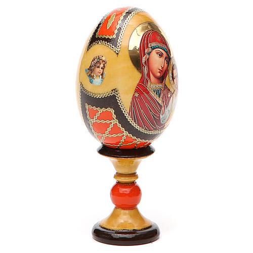 Huevo ruso de madera découpage Virgen de Kazanskaya estilo Fabergé altura total 13 cm 12