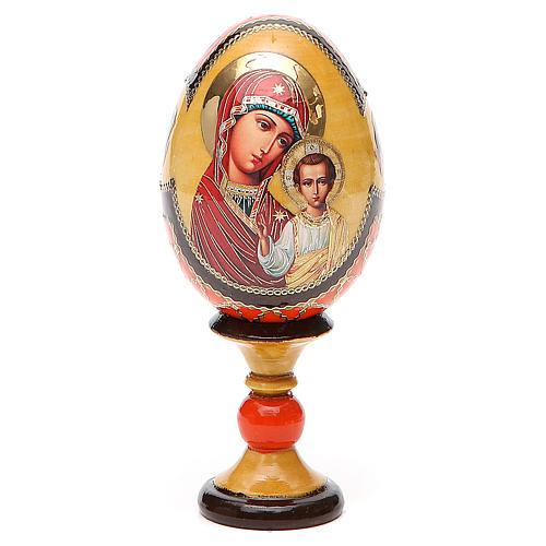 Huevo ruso de madera découpage Virgen de Kazanskaya estilo Fabergé altura total 13 cm 1