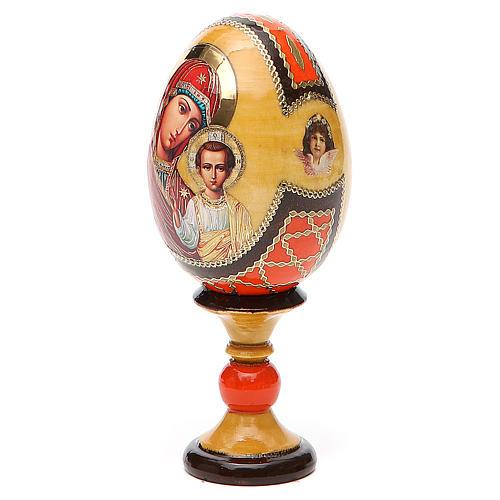 Huevo ruso de madera découpage Virgen de Kazanskaya estilo Fabergé altura total 13 cm 2