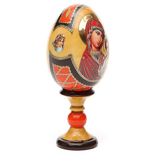 Huevo ruso de madera découpage Virgen de Kazanskaya estilo Fabergé altura total 13 cm 4