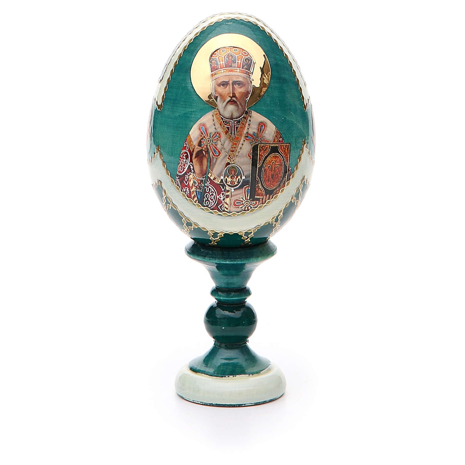 Uovo icona découpage San Nicola h tot. 13 cm stile Fabergé 4