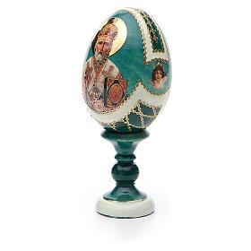 Uovo icona découpage San Nicola h tot. 13 cm stile Fabergé s6