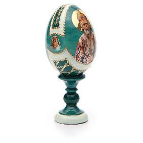Uovo icona découpage San Nicola h tot. 13 cm stile Fabergé s8