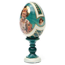 Uovo icona découpage San Nicola h tot. 13 cm stile Fabergé s10