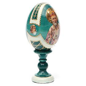 Uovo icona découpage San Nicola h tot. 13 cm stile Fabergé s12