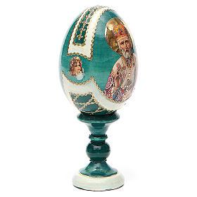 Uovo icona découpage San Nicola h tot. 13 cm stile Fabergé s4