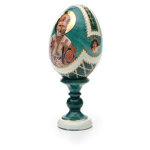 Uovo icona découpage San Nicola h tot. 13 cm stile Fabergé 6