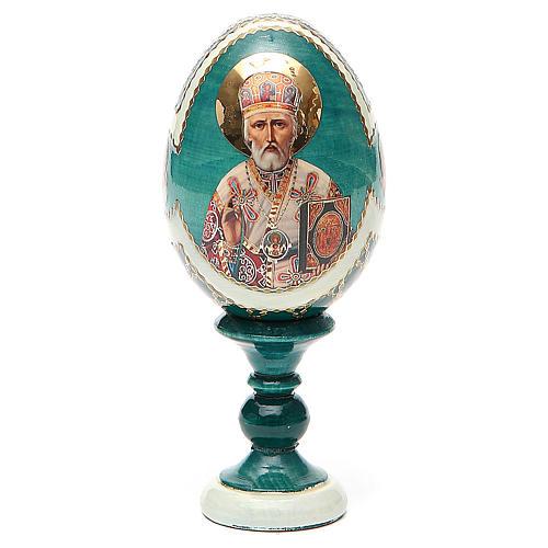 Uovo icona découpage San Nicola h tot. 13 cm stile Fabergé 1