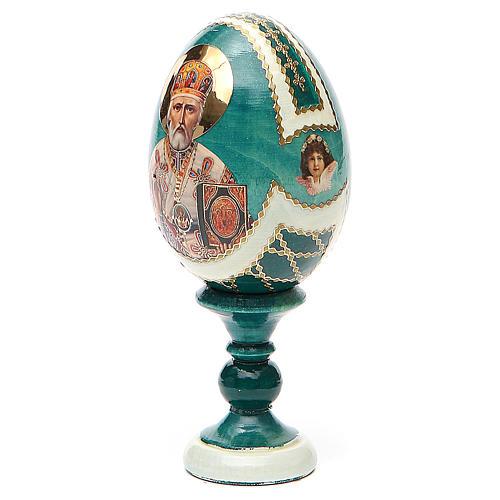 Uovo icona découpage San Nicola h tot. 13 cm stile Fabergé 2