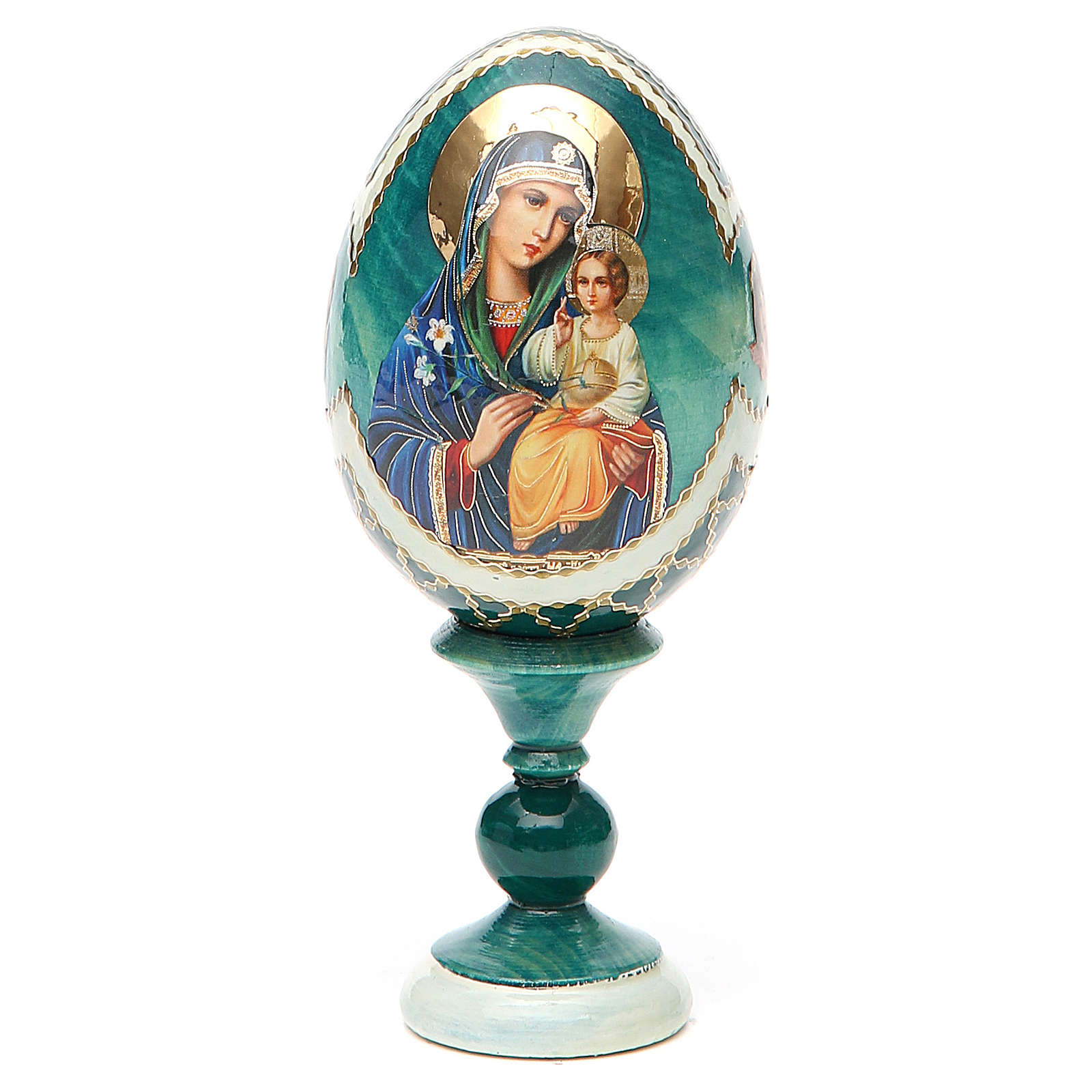 Uovo icona découpage Giglio Bianco h tot. 13 cm stile Fabergé 4
