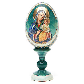 Uovo icona découpage Giglio Bianco h tot. 13 cm stile Fabergé s9