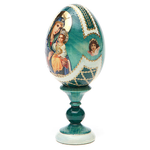Uovo icona découpage Giglio Bianco h tot. 13 cm stile Fabergé 10