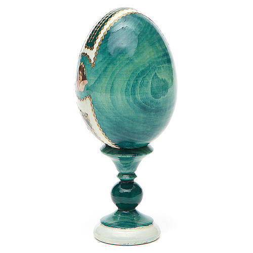 Uovo icona découpage Giglio Bianco h tot. 13 cm stile Fabergé 3
