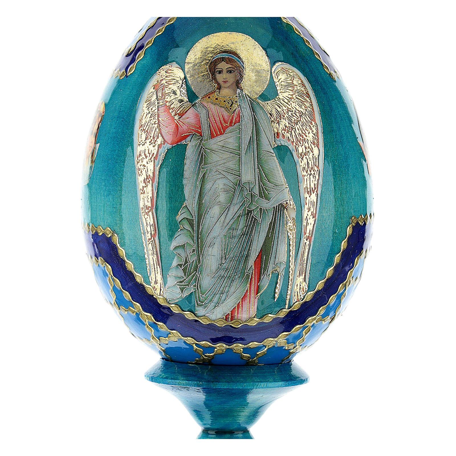 Uovo icona Russa Angelo Custode h tot. 13 cm stile Fabergé 4