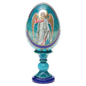 Uovo icona Russa Angelo Custode h tot. 13 cm stile Fabergé s1