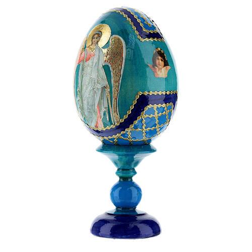 Uovo icona Russa Angelo Custode h tot. 13 cm stile Fabergé 3